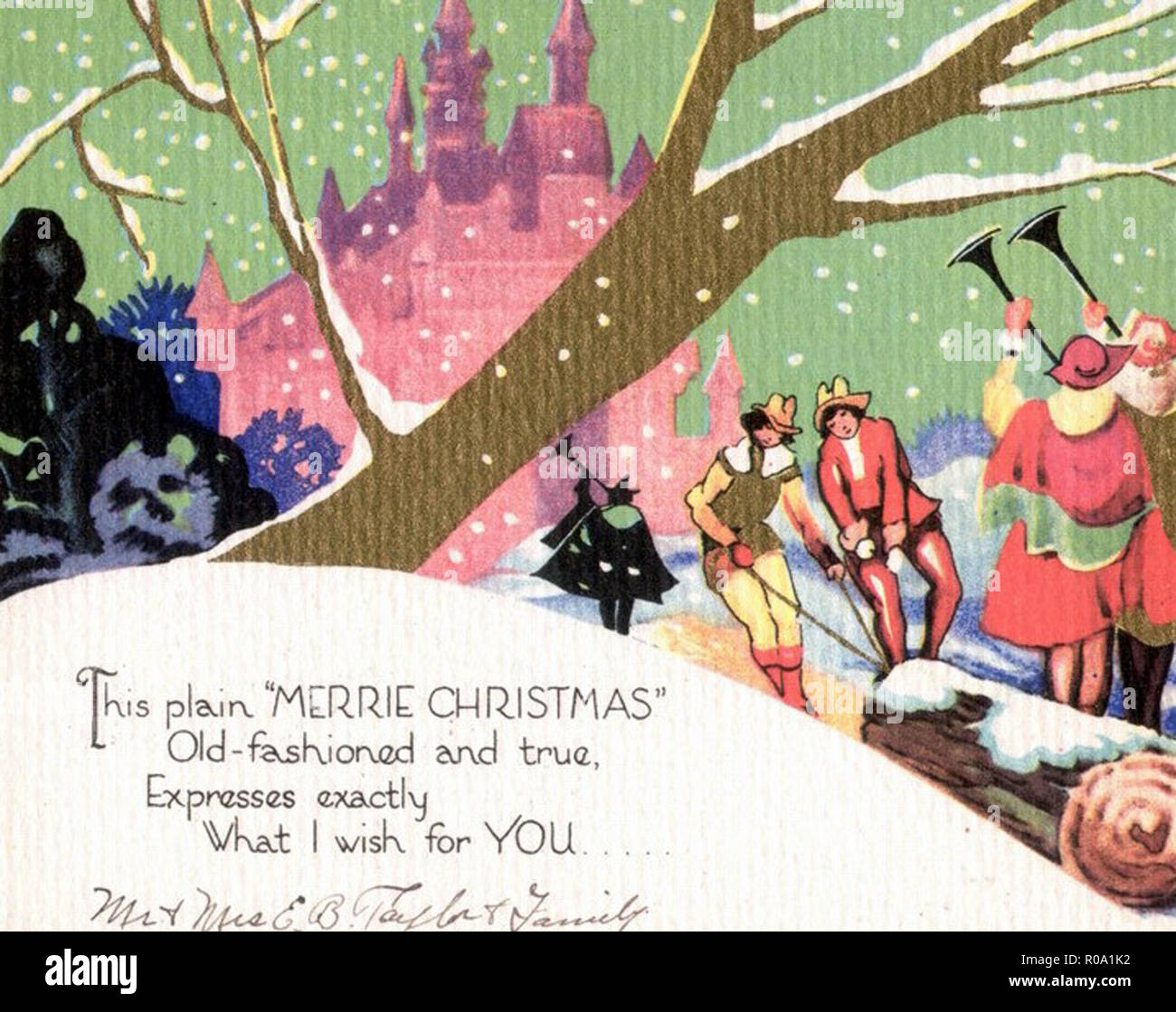 Vintage Victorian Christmas Card Design Illustration Art Stock Photo Alamy