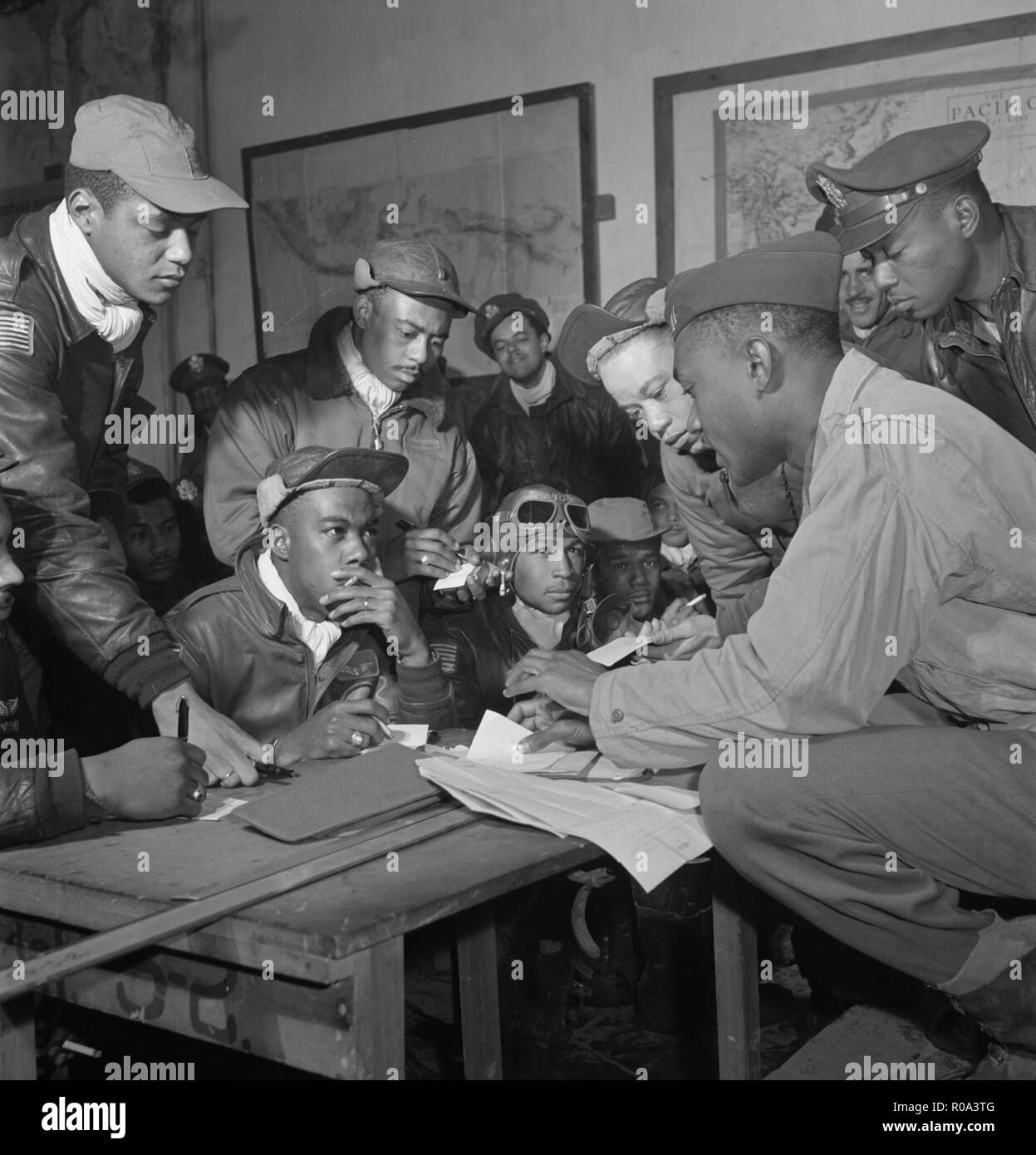 Group of Tuskegee Airmen, Ramitelli, Italy, Tony Frissell, March 1945 - Stock Image