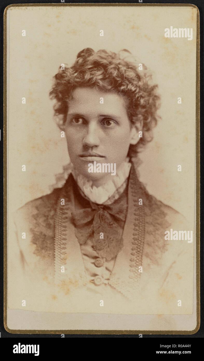 Julia Thomas Irvine (1848-1930), Greek Scholar and 4th President of Wellesley College 1894-99, Head and Shoulders Portrait, Jefferson Beardsley, 1875 - Stock Image