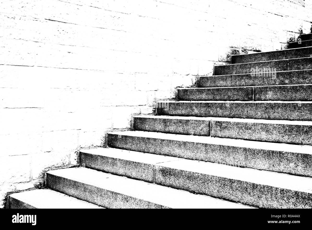 nice old vintage stone stairs in prague city center - Stock Image