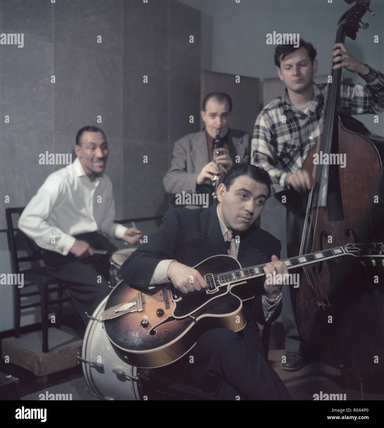 Portrait of Jimmy Crawford (far left on drums), New York City, New York, USA, William P. Gottlieb Collection, 1948 Stock Photo