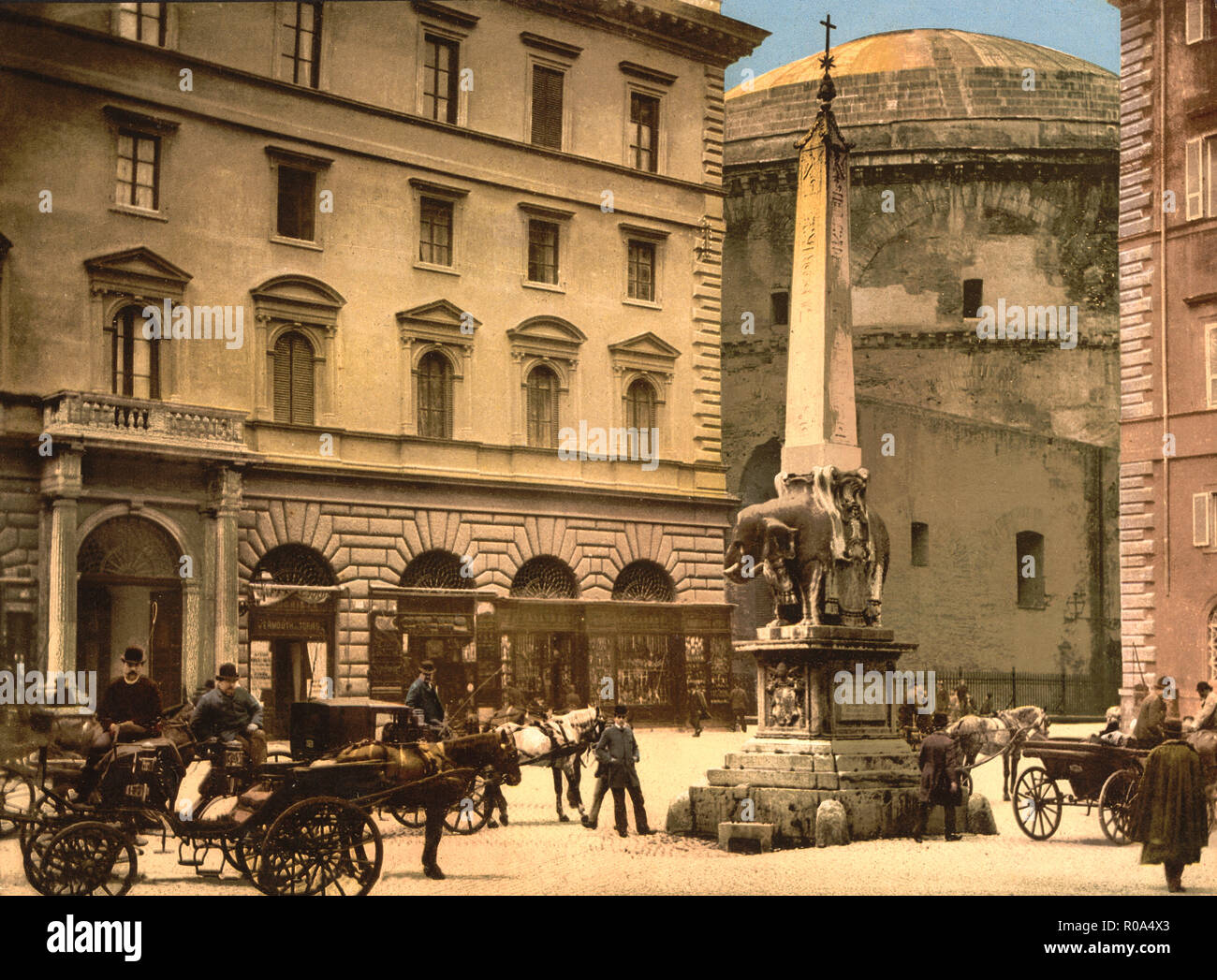 Piazza della Minerva, Rome, Italy, Photochrome Print, Detroit Publishing Company, 1900 - Stock Image