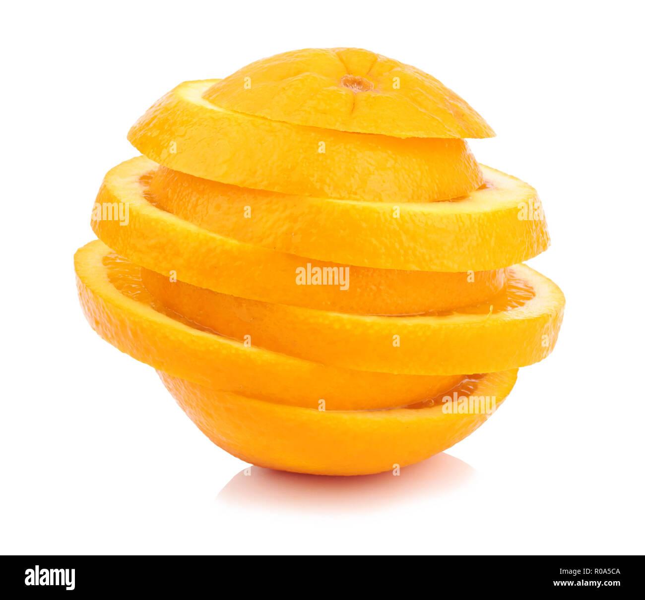 chopped orange slices isolated on white background - Stock Image