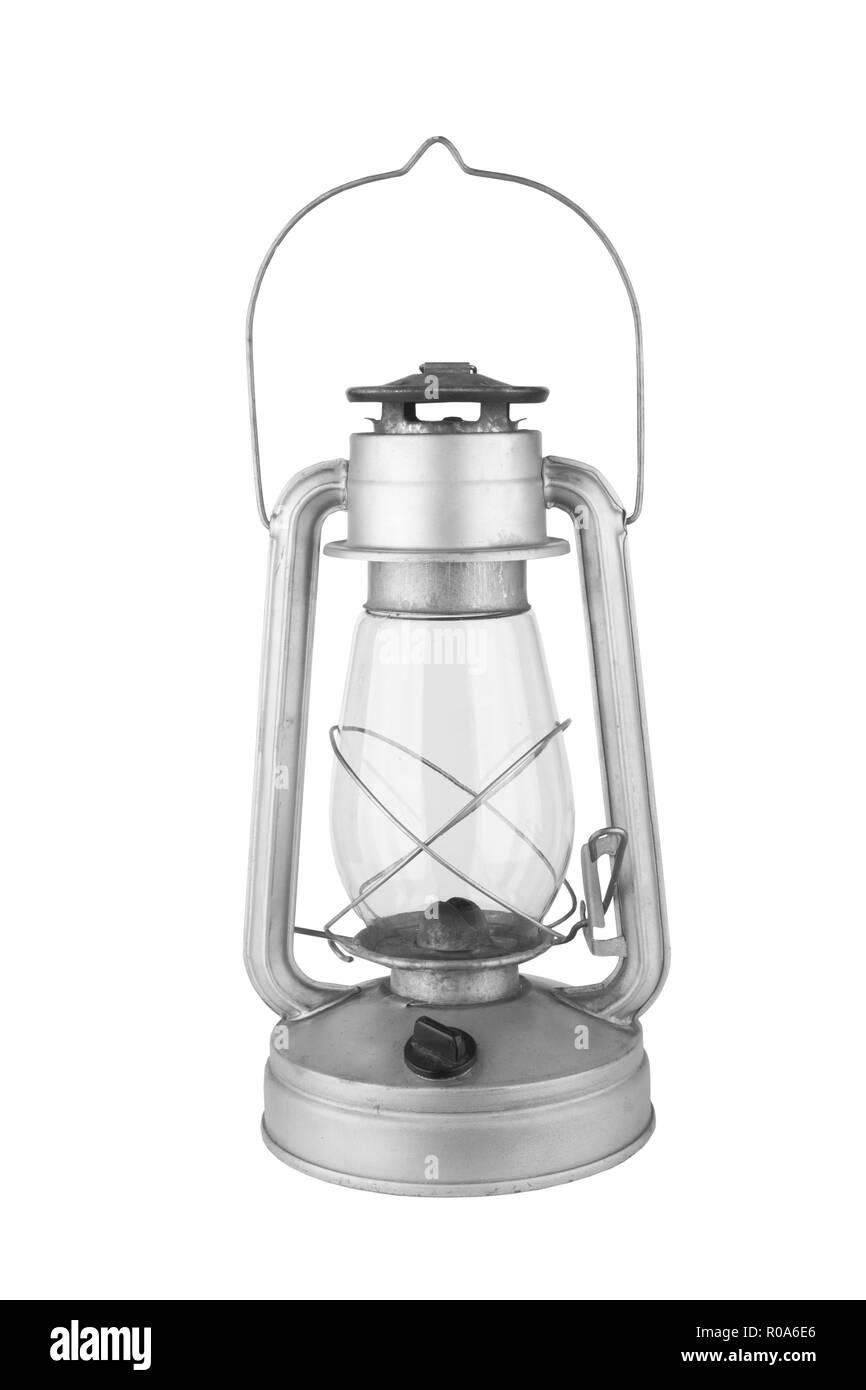 old kerosene lamp isolated on a white background - Stock Image