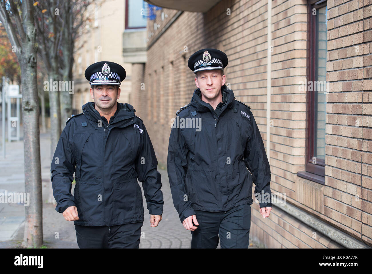 Chief Supt Gareth Blair and Chief Inspector Davie Robertson at St Leonards Police Station, Bonfire night interview - Stock Image