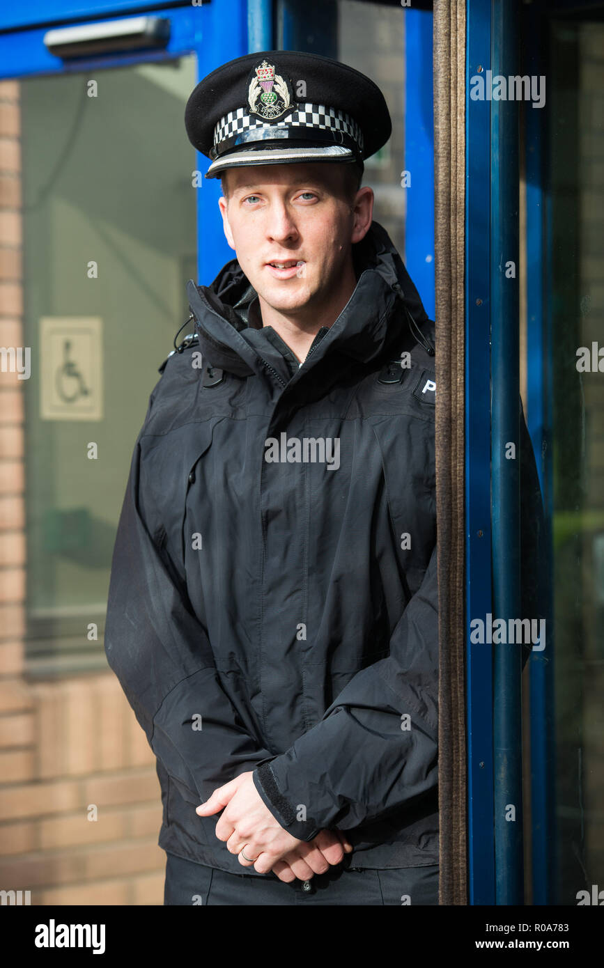 Chief Inspector Davie Robertson at St Leonards Police Station, Bonfire night interview - Stock Image