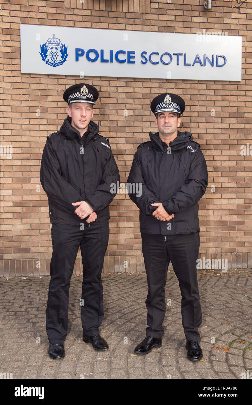 Chief Supt Gareth Blair and Chief Inspector Davie Robertson (Left) at St Leonards Police Station, Bonfire night interview - Stock Image