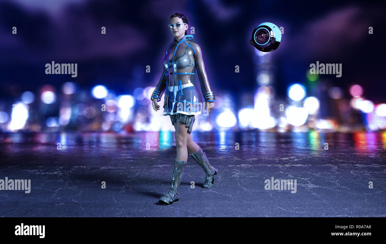 Sci-fi girl with flying drone wearing hi-tech outfit in futuristic city street at night, science fiction scene, 3D rendering - Stock Image