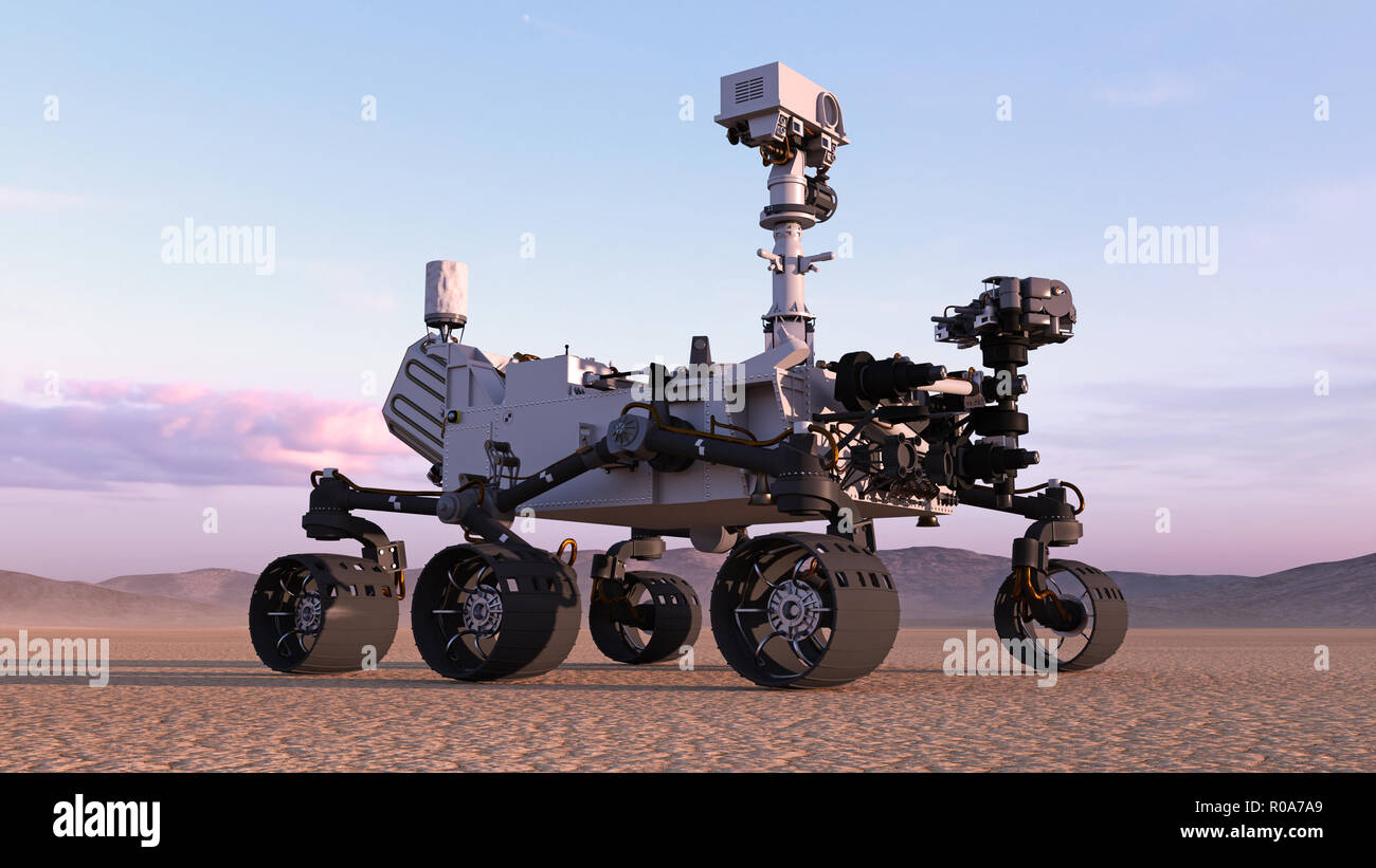 Mars Rover, robotic autonomous space vehicle on a deserted planet with hills in background, 3D rendering - Stock Image