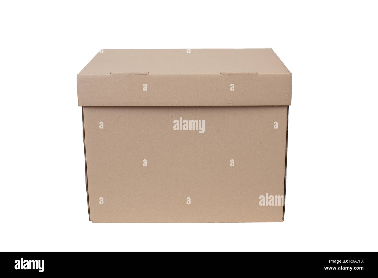 Brown Cartoon Moving And Storage Box Isolated On White Background. Side Low  Angle View