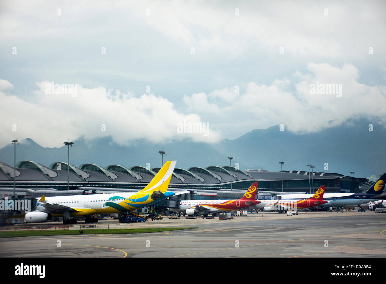 Airbus and plane on runway station waiting time for take off at Hong Kong International Airport on September 3, 2018 in Hong Kong, China - Stock Image