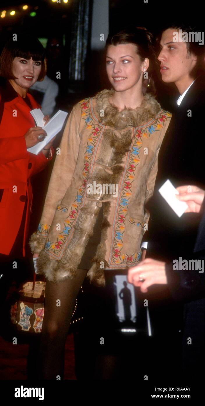 LOS ANGELES, CA - DECEMBER 4: Actress Milla Jovovich attends TriStar Pictures' 'Chaplin' Los Angeles Premiere on December 4, 1992 at the Los Angeles Theatre in Los Angeles, California. Photo by Barry King/Alamy Stock Photo - Stock Image