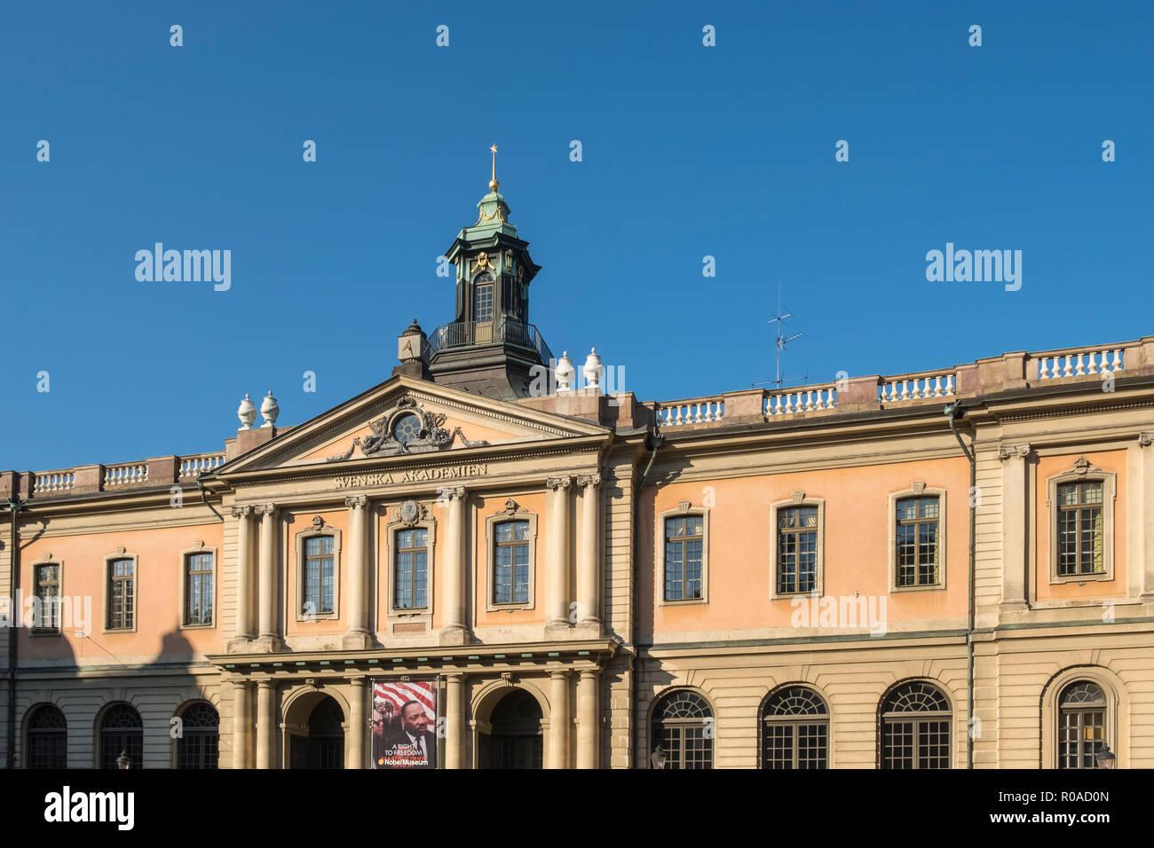 Exterior front facade of the Nobel Museum (Nobelmuseet), Stortorget, Gamla Stan, Stockholm, Sweden - Stock Image