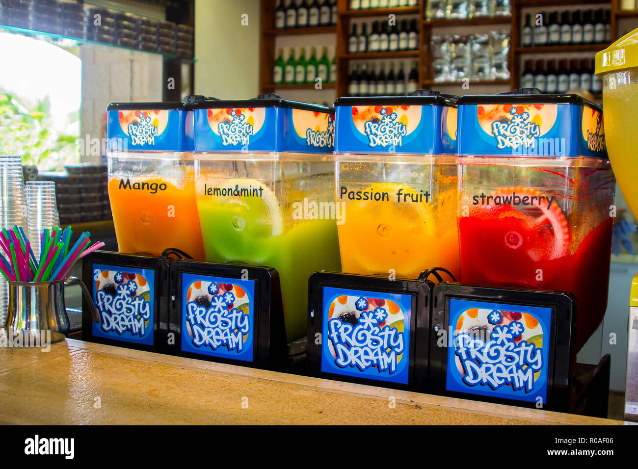 3 May 2018 A row of colourful slush puppy ice makers in a small shop at the Sea of Galilee in Israel. These treats bring welcome refreshment on a hot  - Stock Image