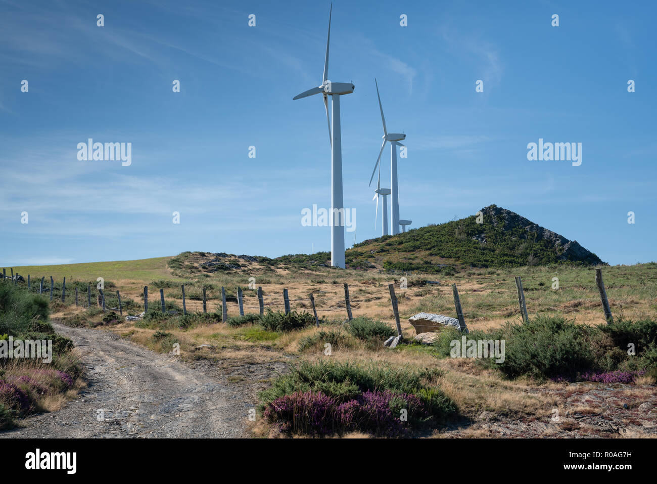 Green Energy, wind farm on Mount Montouto, Galicia, Spain - Stock Image