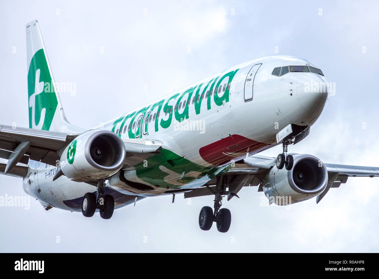 Plane Boeing 737 Transavia landing, chassis of aircraft, eject - Stock Image