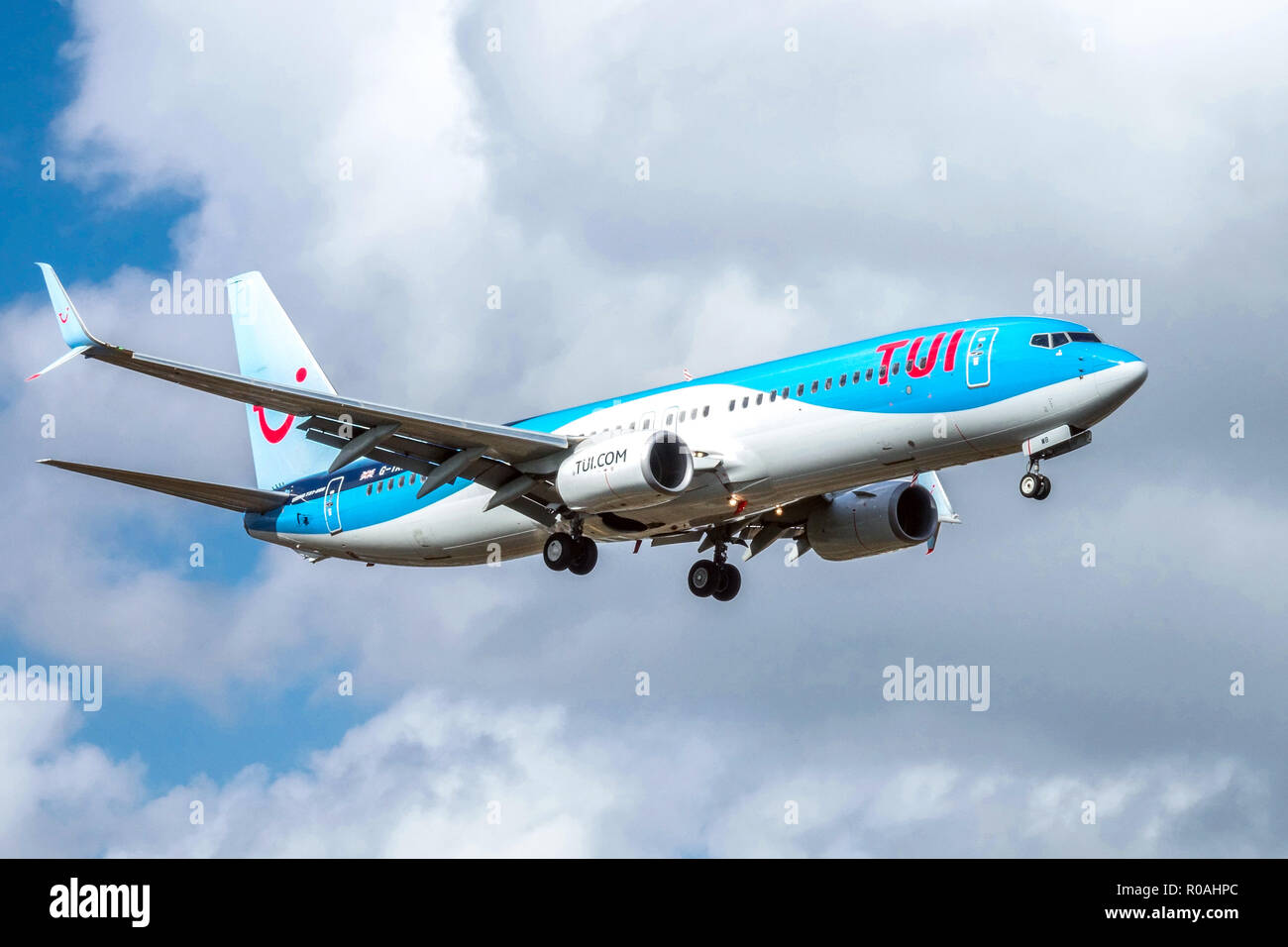 Plane Boeing 737 TUI landing, chassis of aircraft, eject - Stock Image