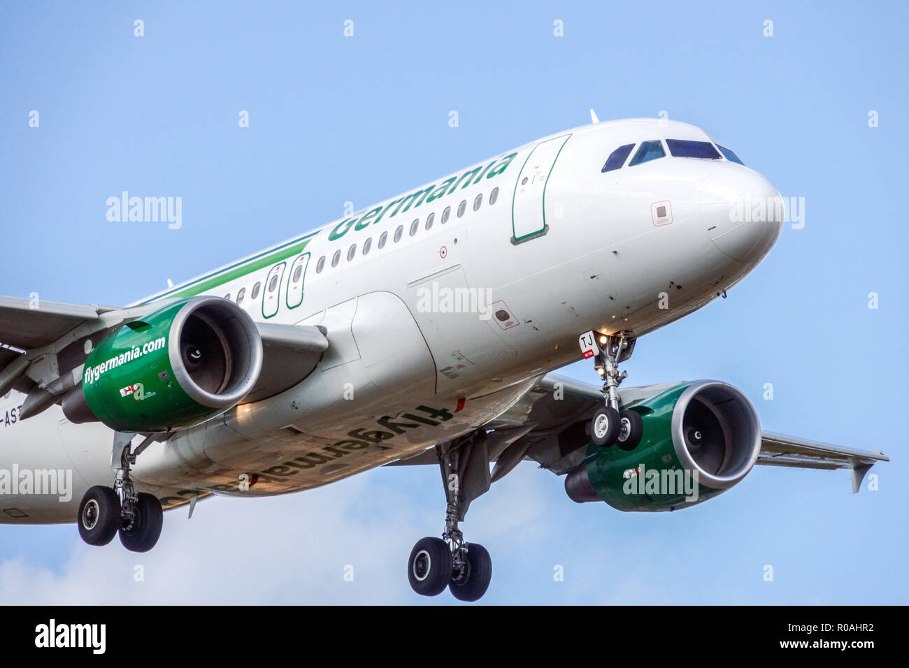 Plane Airbus A319 Germania airlines landing - Stock Image
