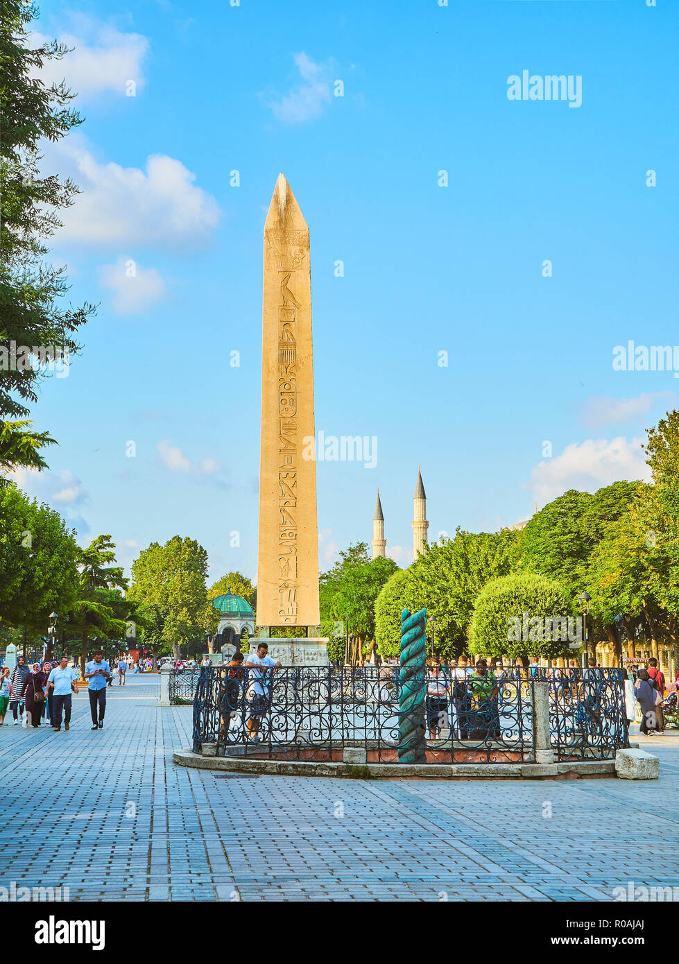 The Obelisk of Theodosius, an ancient Egyptian obelisk in the Hippodrome of Constantinople. Istanbul, Turkey. - Stock Image