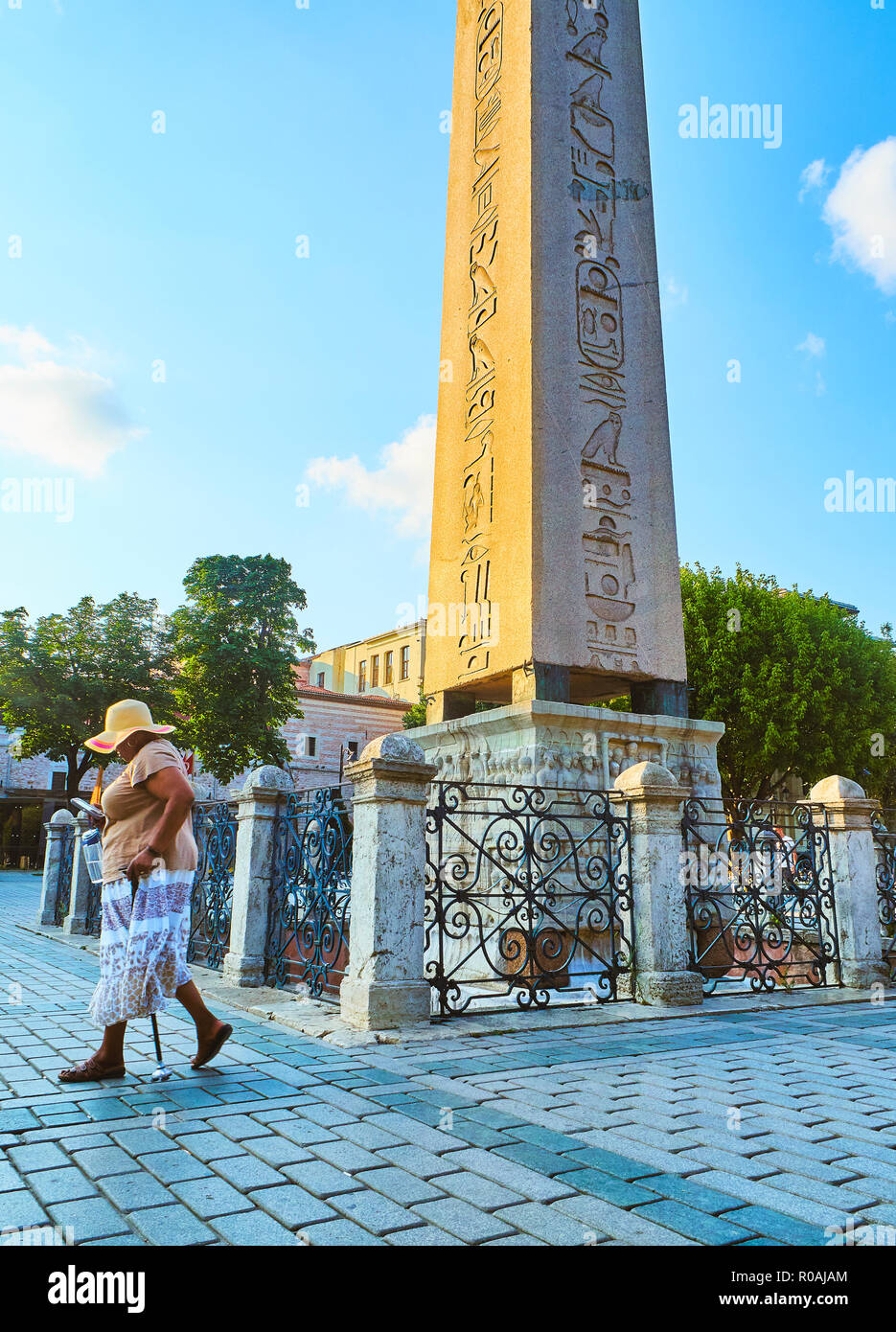 The Obelisk of Theodosius, an ancient Egyptian obelisk in the Hippodrome of Constantinople. SultanAhmet Square. Ista - Stock Image
