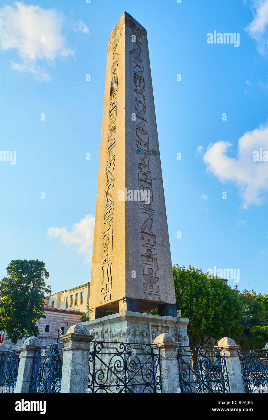 The Obelisk of Theodosius, an ancient Egyptian obelisk in the Hippodrome of Constantinople. SultanAhmet Square. Istanbul, Turkey. - Stock Image