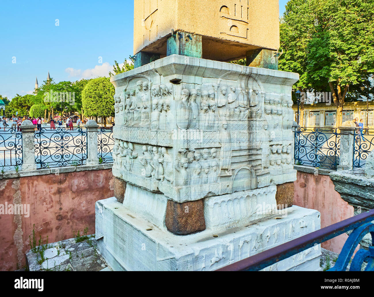 Detail of the pedestal of The Obelisk of Theodosius, an ancient Egyptian obelisk in the Hippodrome of Constantinople - Stock Image