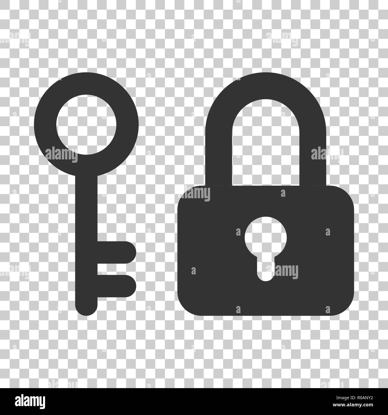 Key with padlock icon in flat style. Access login vector illustration on isolated background. Lock keyhole business concept. - Stock Image