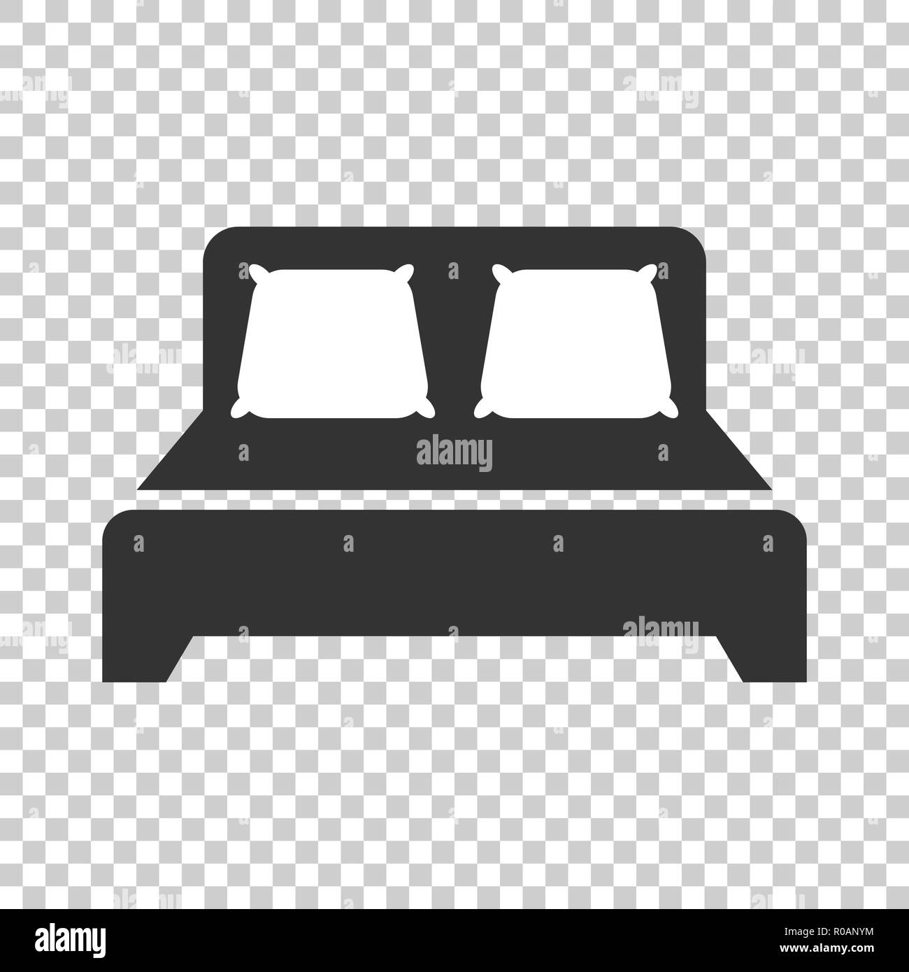 Bed Icon In Flat Style Sleep Bedroom Vector Illustration On