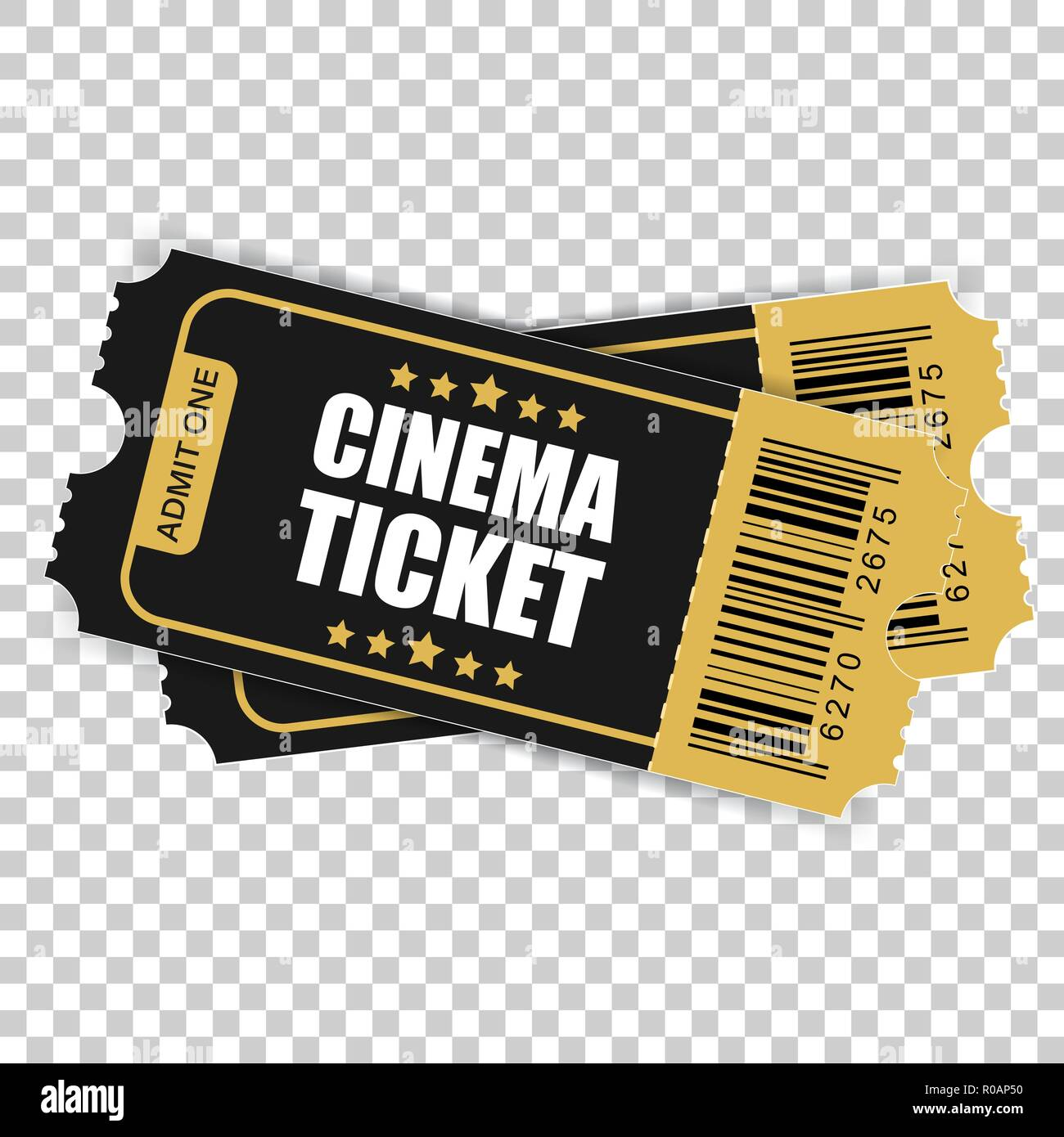 realistic cinema ticket icon in flat style admit one coupon