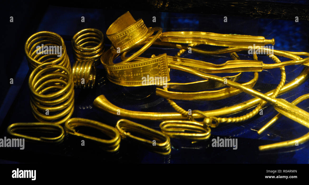 Viking age (793-1066 AD). Rings, bracelets and necklaces that were given as a symbol of loyalty and fidelity. Historic Museum. Stockholm. Sweden. - Stock Image