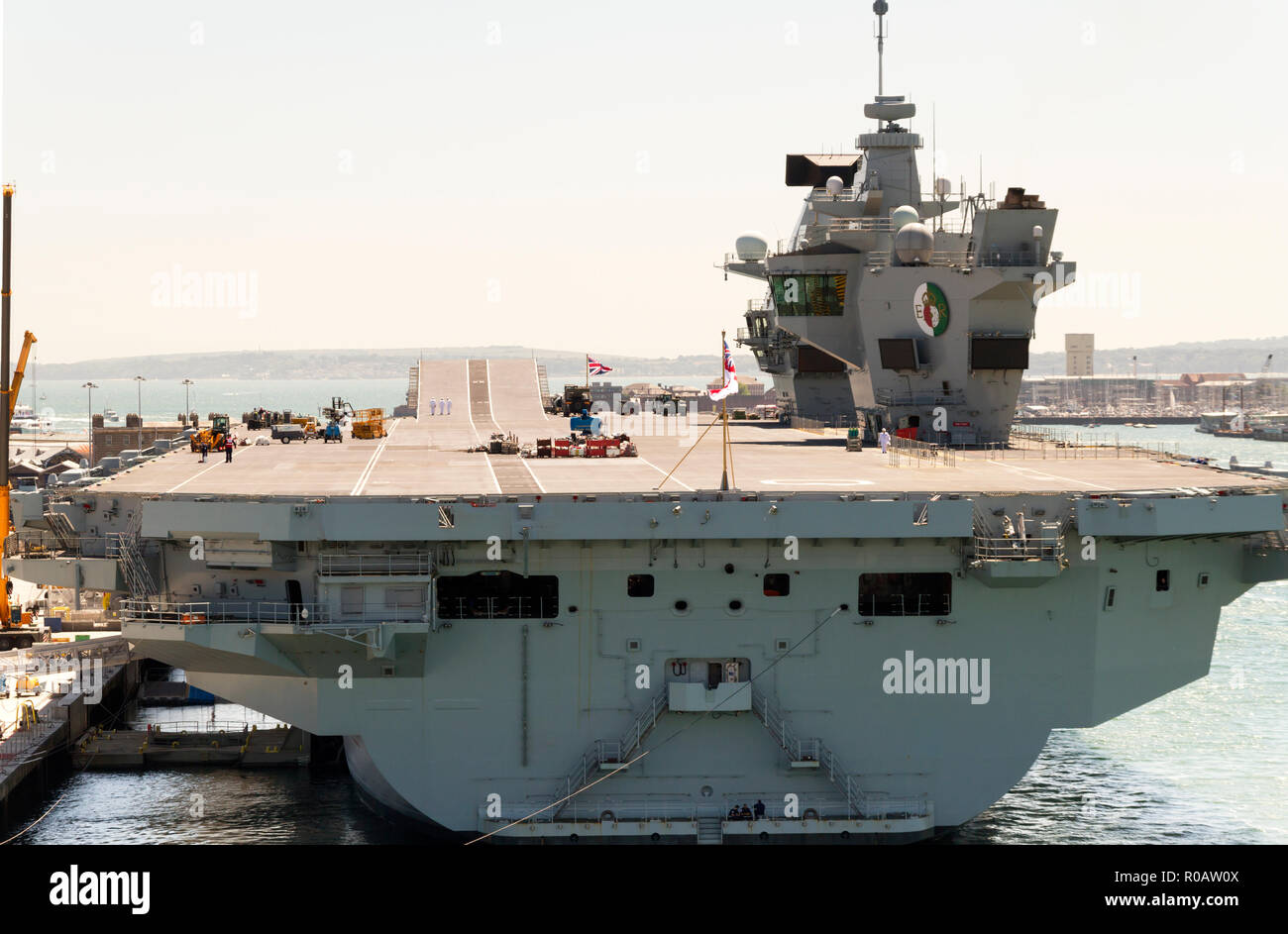 HMS the Queen Elizabeth the new Royal Navy aircraft carrier - Stock Image