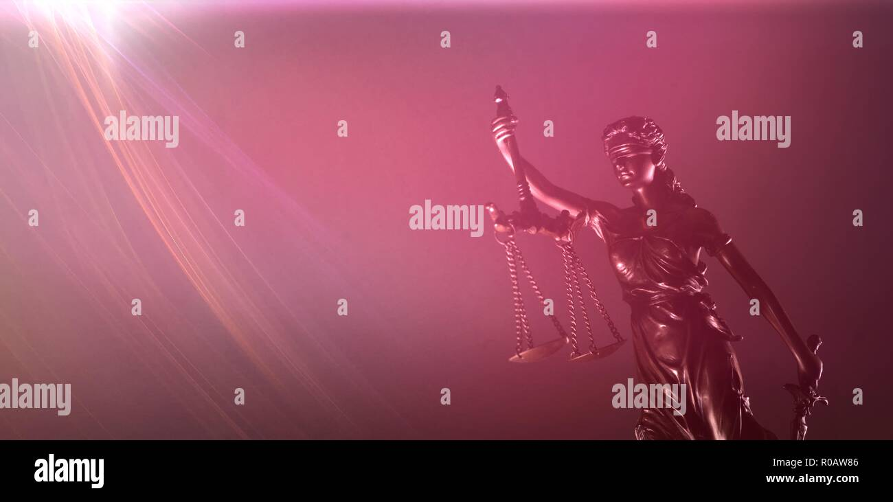 Themis with scale and sword - Law concept.Panoramic picture with copy space - Stock Image