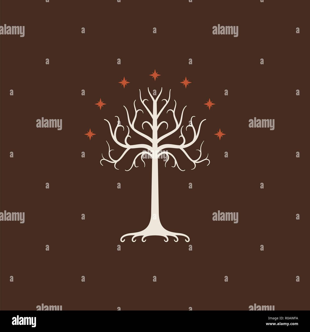 White Tree of Gondor. Isolated on brown background - Stock Image