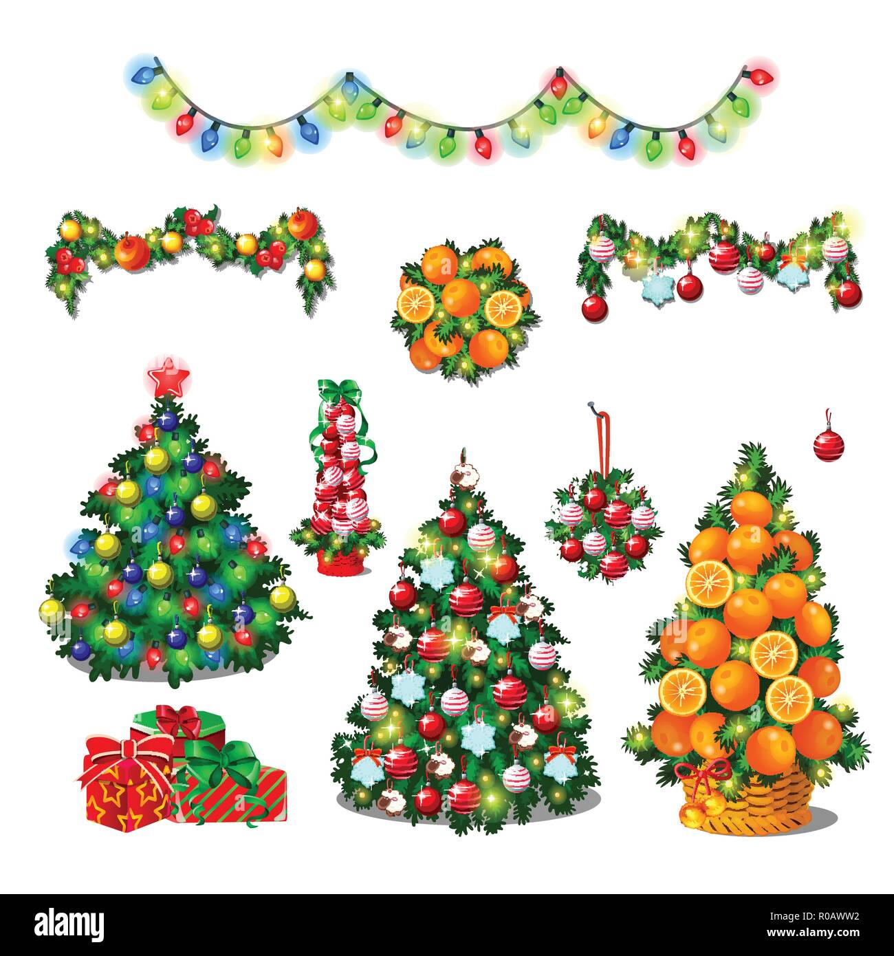 Set Of Cute Christmas Tree Colorful Garlands New Year Gift Boxes With Ribbon Bow Classic Christmas Decorations Wreath Baubles Sketch For Greeting Card Festive Poster Party Invitation Vector Stock Vector Image