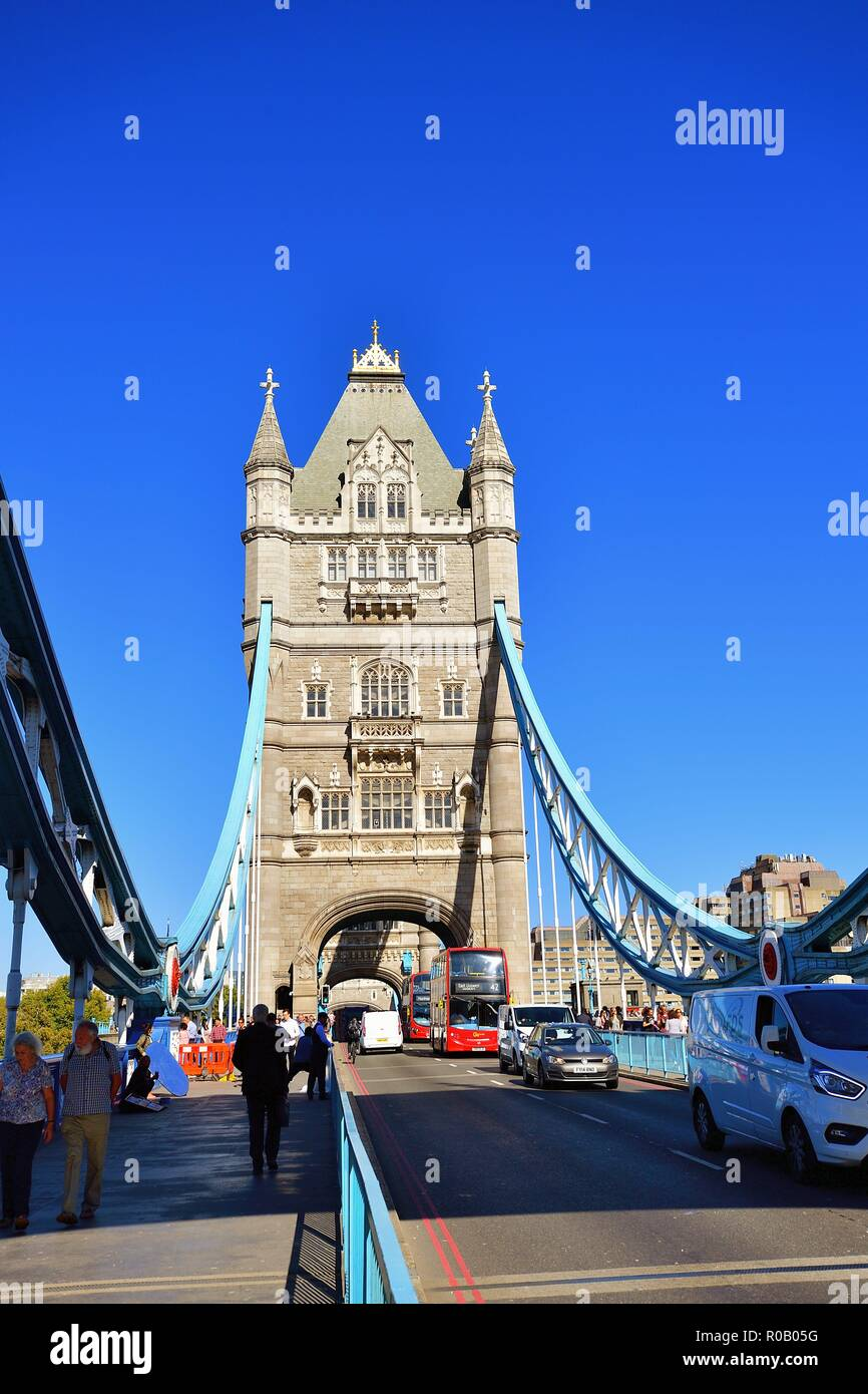 London, England, United Kingdom. One of the iconic Tower Bridge. Clearly, the most famous and recognizable of all London's bridges. - Stock Image