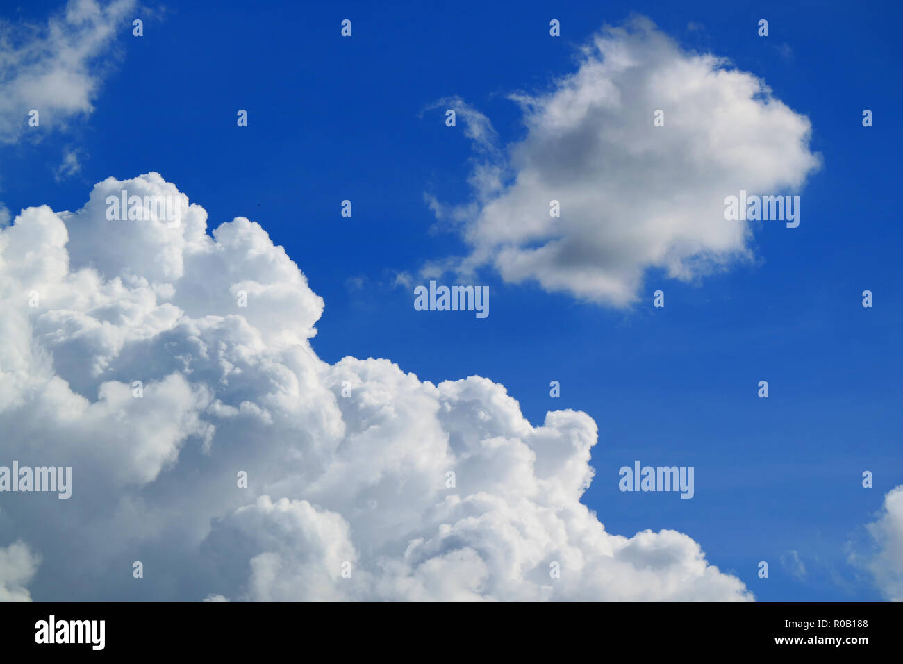 Pure White Fluffy Cumulus Clouds Floating on Vivid Blue Sky - Stock Image