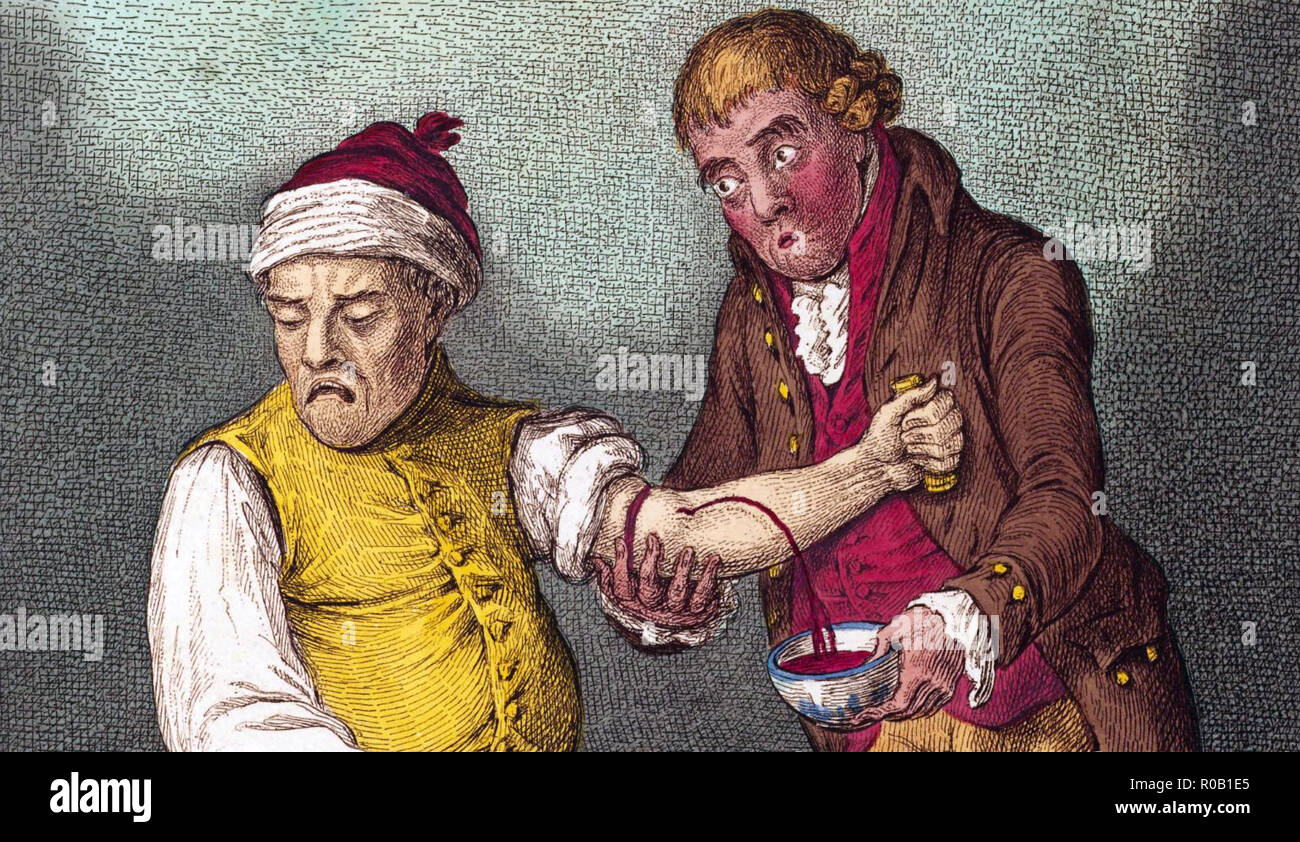 BREATHING A VEIN by James Gillray in an 1804 engraving. - Stock Image