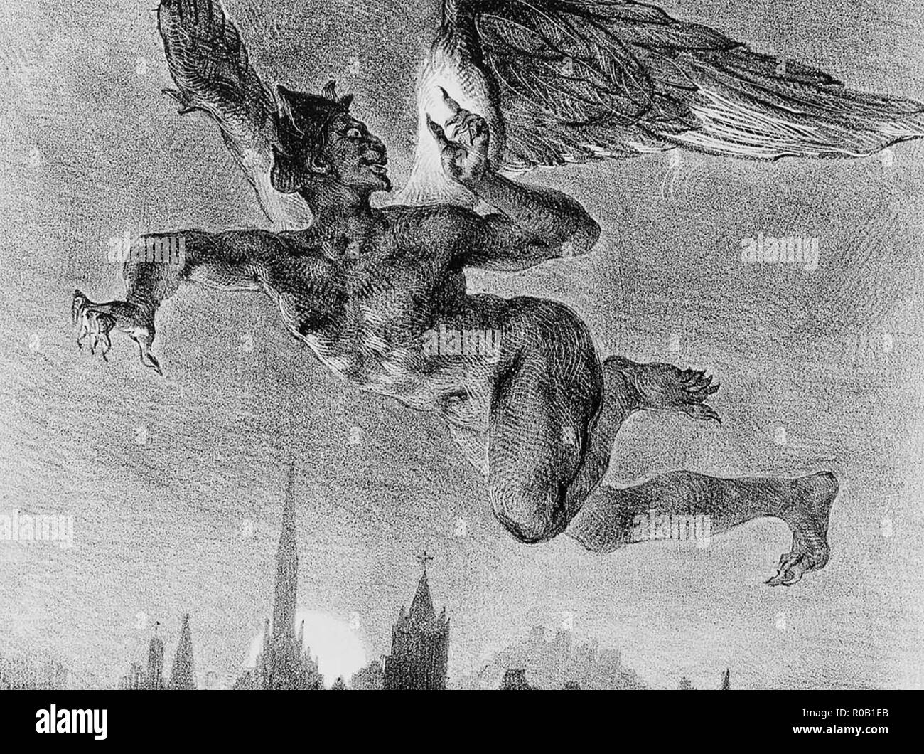 MEPHISTOPELES  in an engraving by Gustav Dore in 1837 - Stock Image