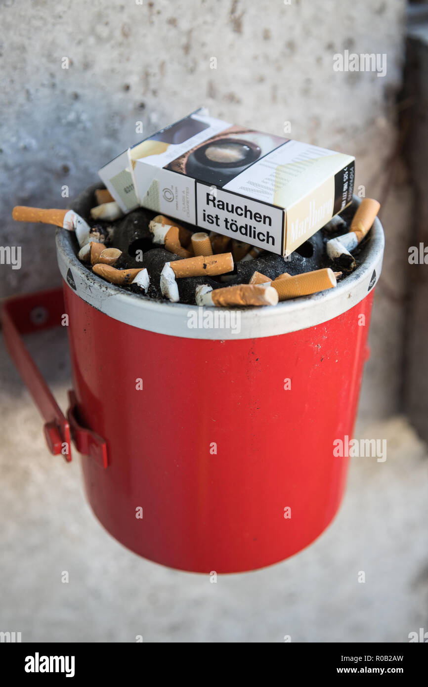 This tray full of cigarettes surely is a stinky sight. - Stock Image