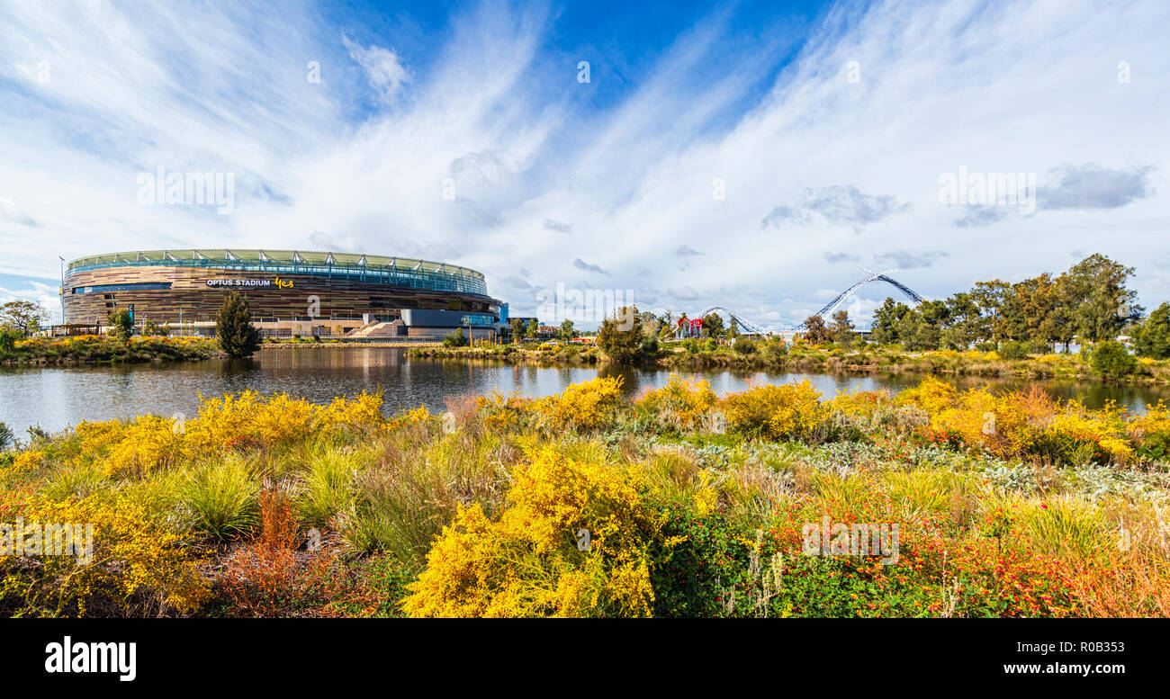 Chevron Parkland and Stadium Park with a lake and native plants next to Optus Perth Stadium in Burswood. Stock Photo