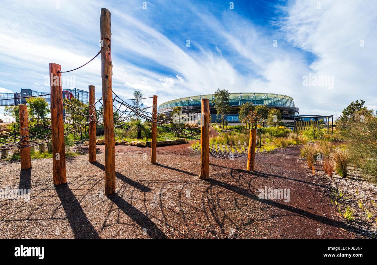Rope climbing frames  playground in Chevron Parkland next to optus Stadium. Burswood Stock Photo