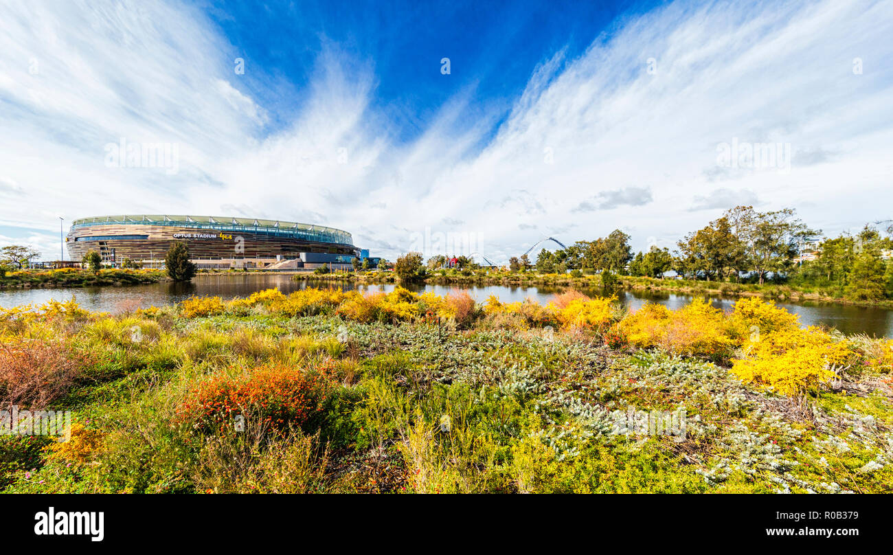 Chevron Parkland and Stadium Park with a lake and native plants next to Optus Stadium in Burswood. - Stock Image