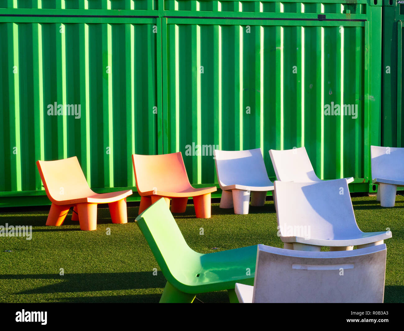 Colourful Chairs In A Public Space - Stock Image