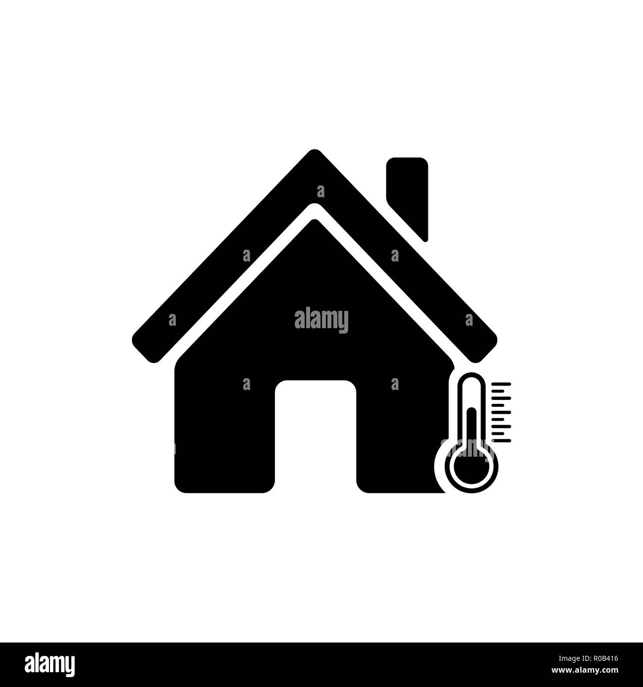 House temperature icon. House and termometer icon - Stock Image
