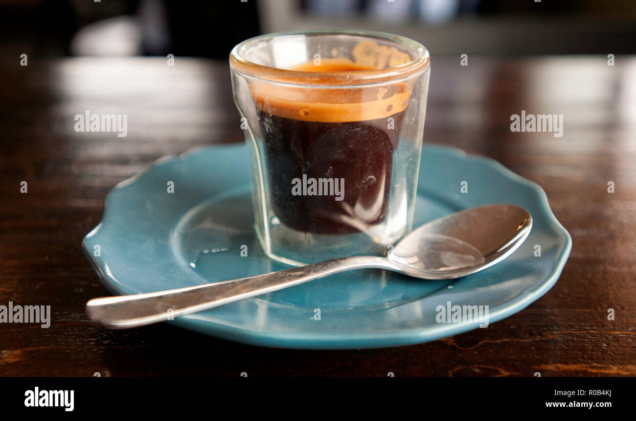 A cup of espresso coffee in British Columbia - Stock Image