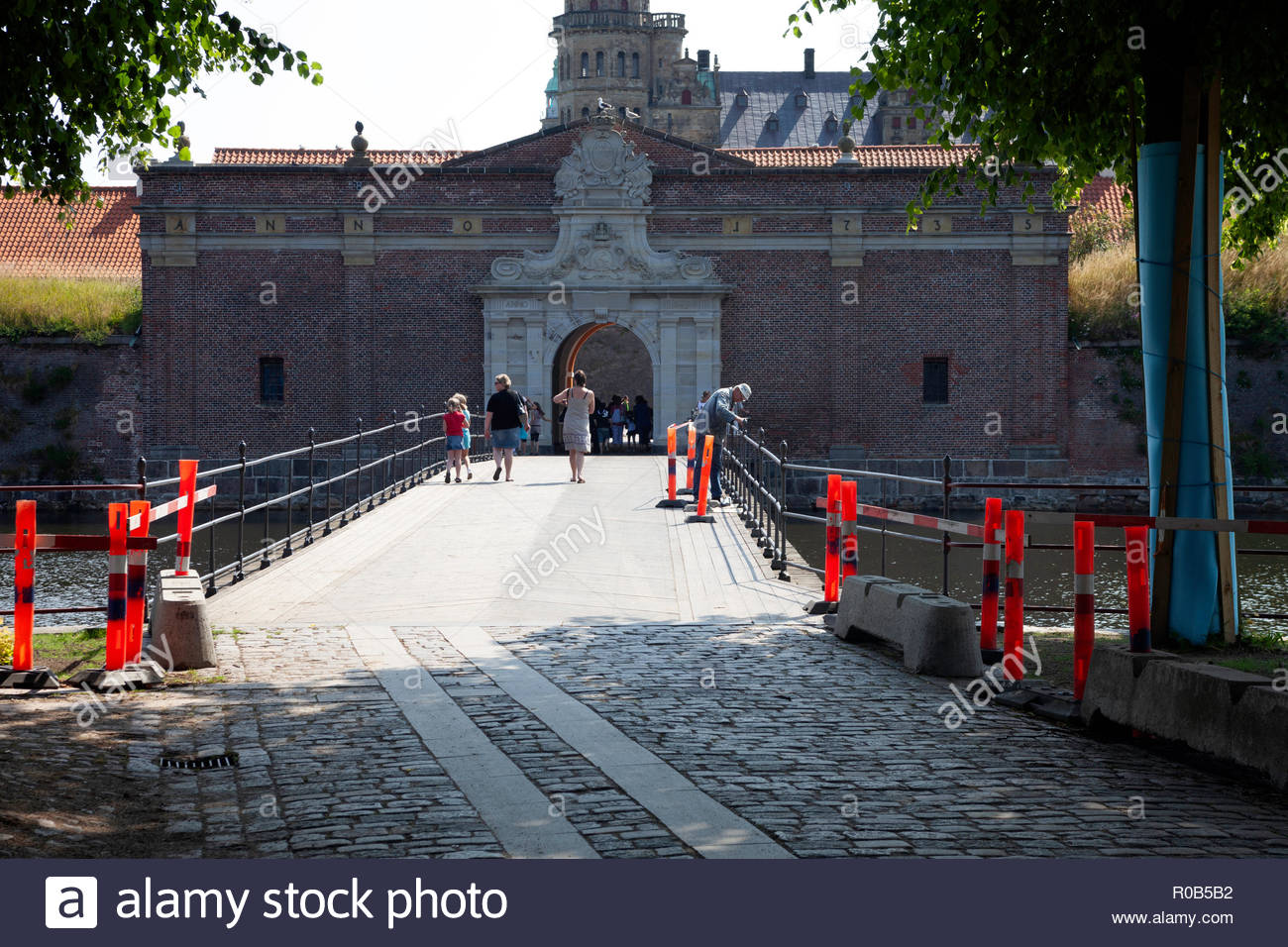 Entrance to castle of Kronborg - Stock Image