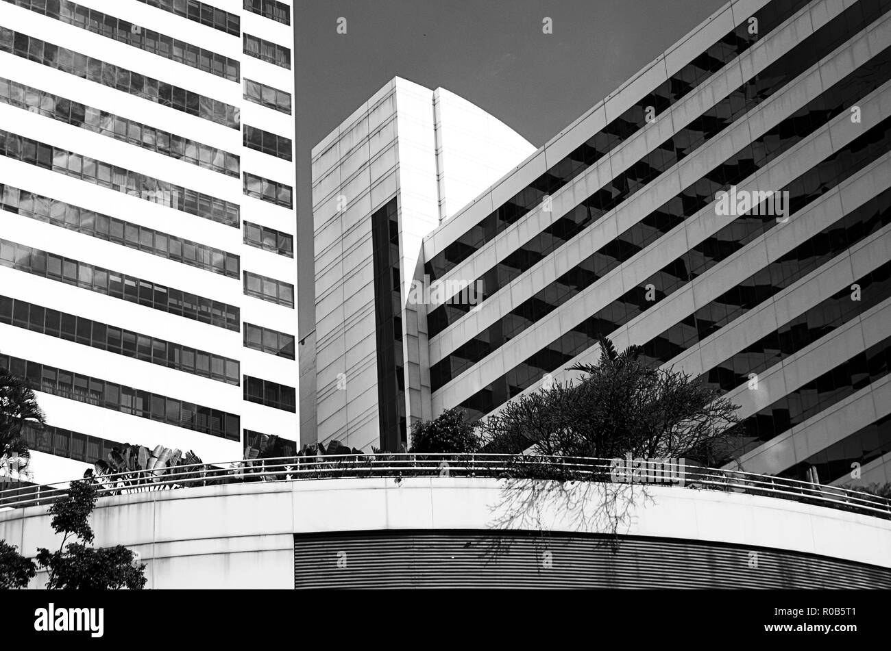 Modern and ancient architecture with a set of lines, shapes and reflections that come together to form interesting images with abstraction - Stock Image
