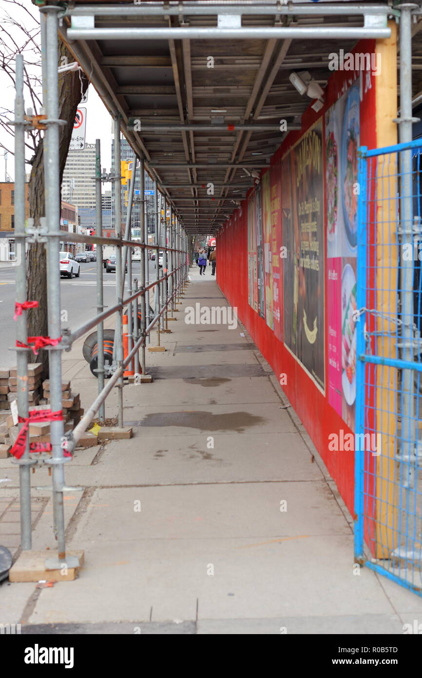Sidewalk Shed in Downtown Toronto - Stock Image