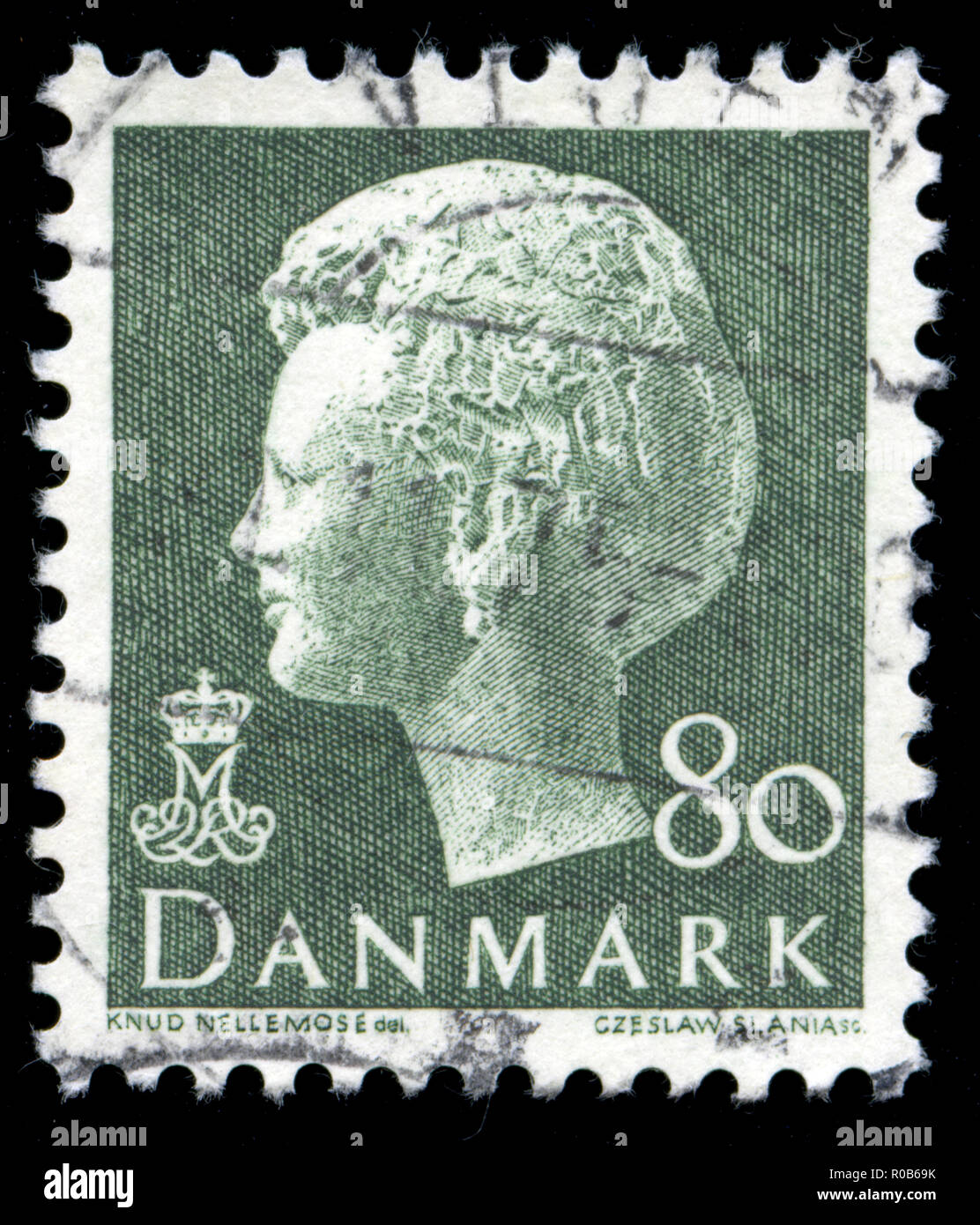 Postmarked stamp from the Denmark in the Queen Margrethe II serie 1 - Stock Image