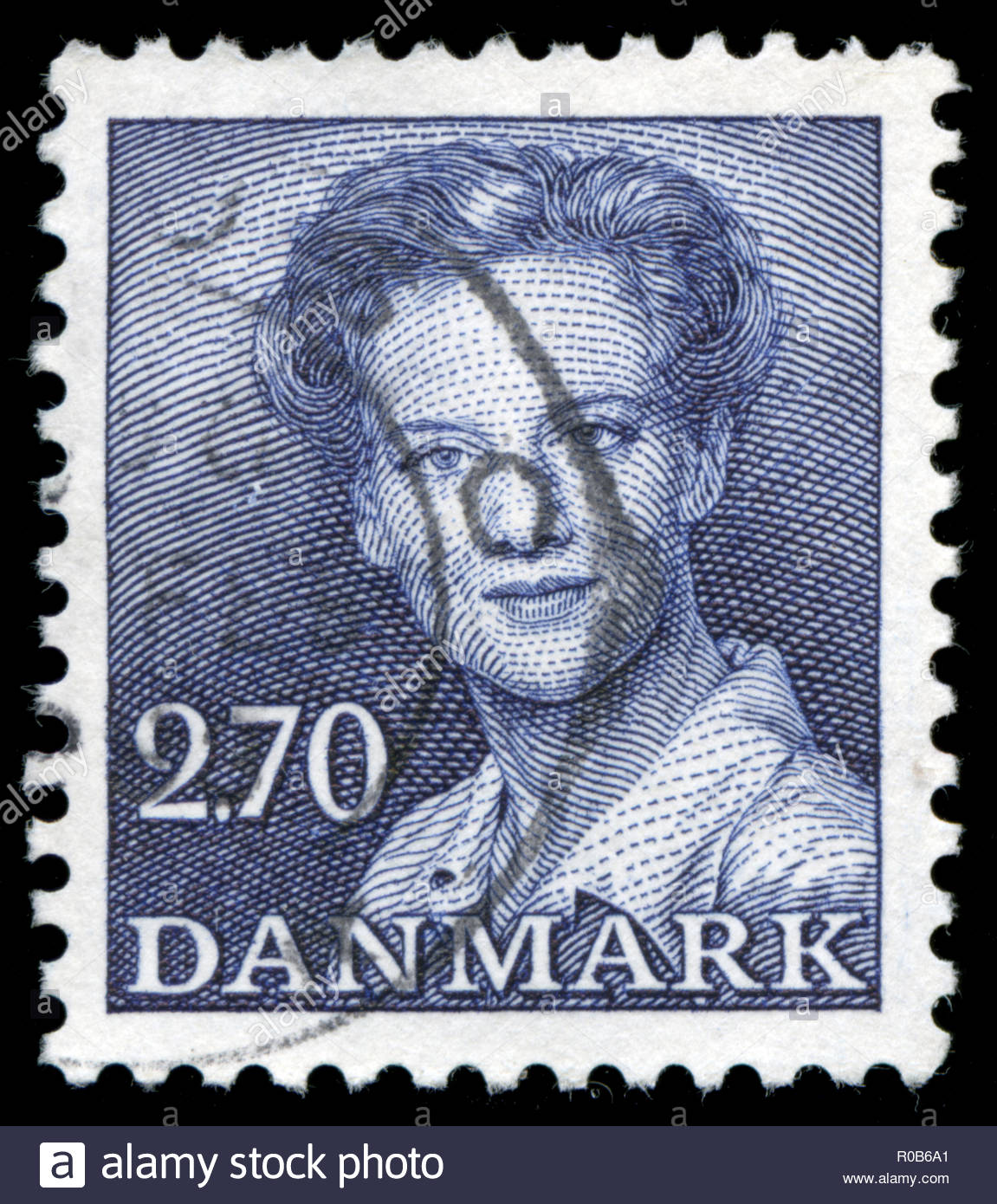 Postmarked stamp from the Denmark in the Queen Margrethe II serie 2 - Stock Image